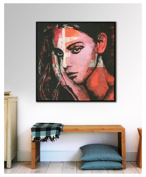 Lost in Thought by Ronald Hunter. Because of his background in commercial design, Ronald Hunter likes to use graphic elements in his paintings. 'Lost in Thought – Pop Art Girl' is a serie of paintings where he mixes a female portrait with typographic form. Combined with the pink and red color palette, this painting can make a beautiful statement in your home. This artwork comes with a black floating frame (made of oak wood).