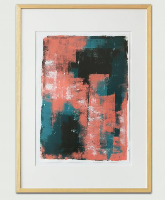 Pink over Turquoise – Fine Art on Paper by Ronald Hunter