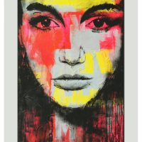 With a background in commercial design, I like to use graphic elements in my paintings. 'Pop Art Girl' is a serie of paintings where I mix a female portrait with typographic form. Combined with the pink and red color palette, this painting is a vibrant statement piece.