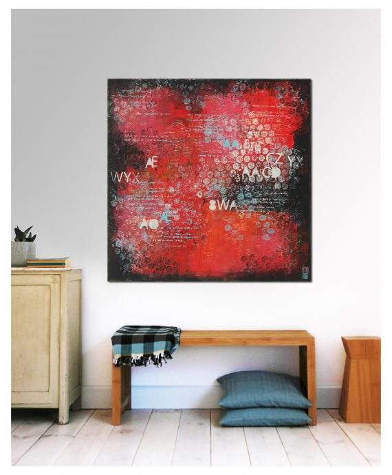 Red Typopop Square by Ronald Hunter.