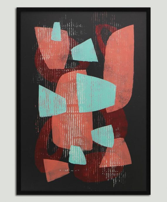 black painting with frame