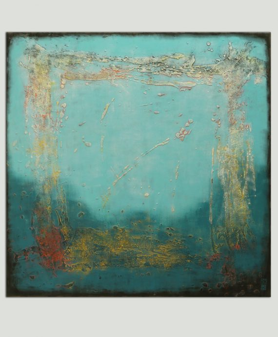 blue lagoon painting xl square abstract ronald hunter