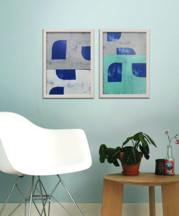 blue diptych painting