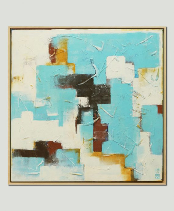 bright turquoise painting abstract ronald hunter