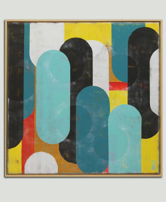 colorful popart painting square frame ronald hunter