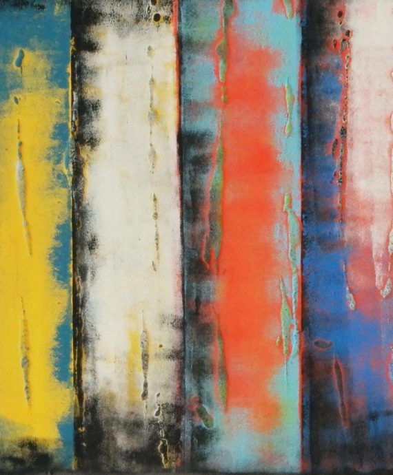 The original. Panels Yellow 50, modern abstract painting by Ronald Hunter.