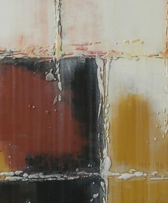 Vertical brown white painting by Ronald Hunter