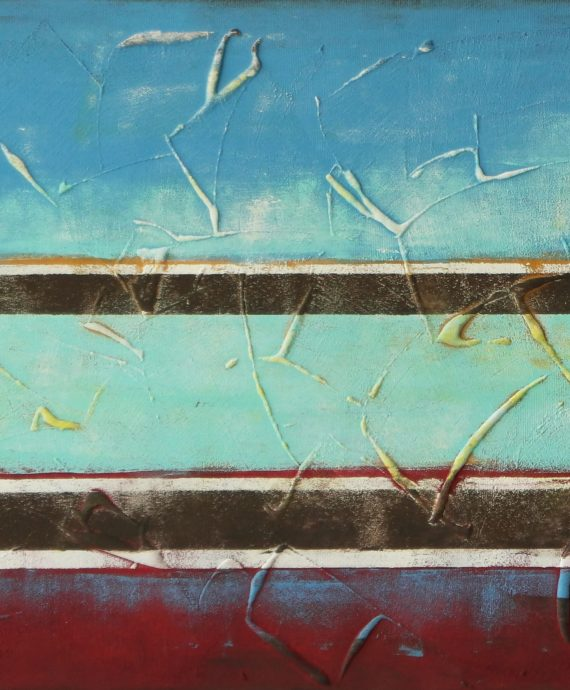 Turquoise Striped Landscape by Ronald Hunter.