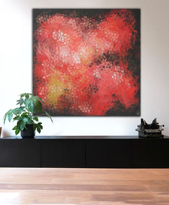 XL painting Red Black Bubbles, by Ronald Hunter