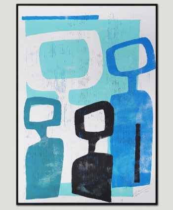 family portrait blue abstract paper original ronald hunter