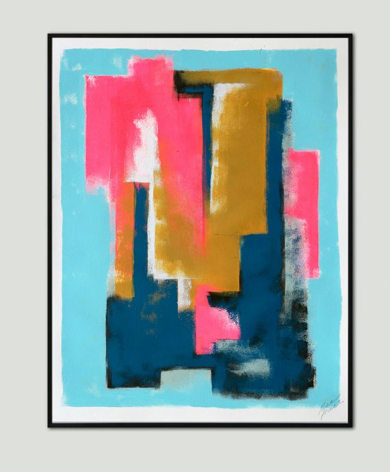 Blue Structure, Art on Paper by Ronald Hunter