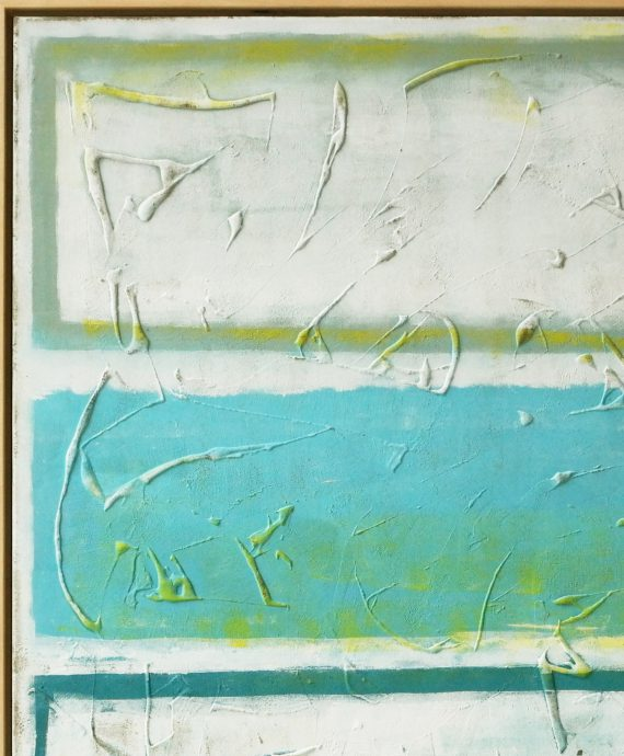 Original Abstract painting, made by Ronald Hunter. Spring Time Blue comes with a wooden floating frame.