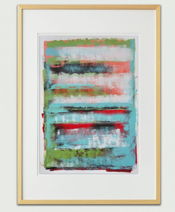 Original wall decor – Green Stacked – Fine Art on Paper by Ronald Hunter