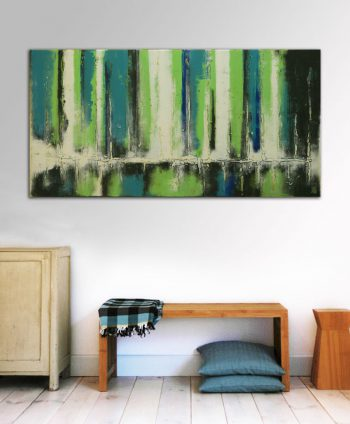 green abstract painting ronald hunter