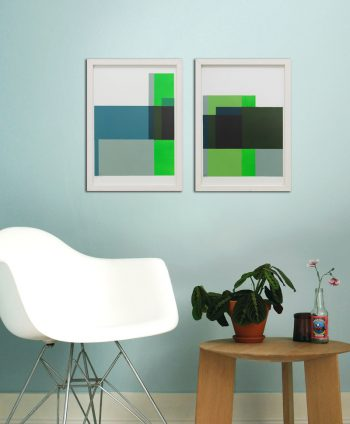green diptych painting