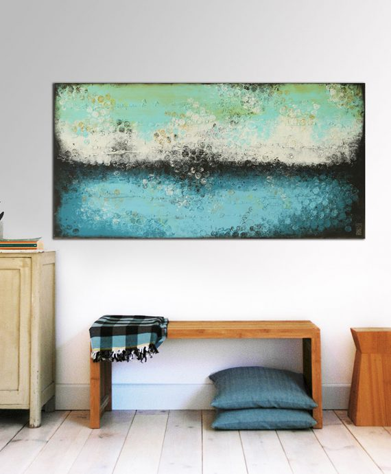 Boiling Bubbles Turquoise Landscape, abstract painting by Ronald Hunter