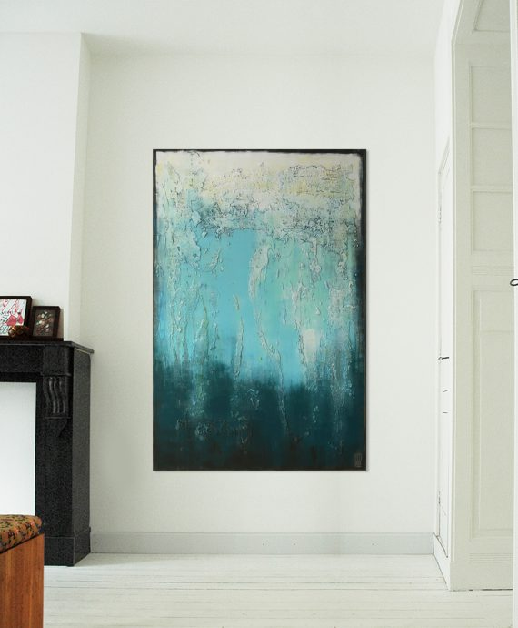 Modern abstract art, vertical painting 'Blue Structured' by Ronald Hunter.