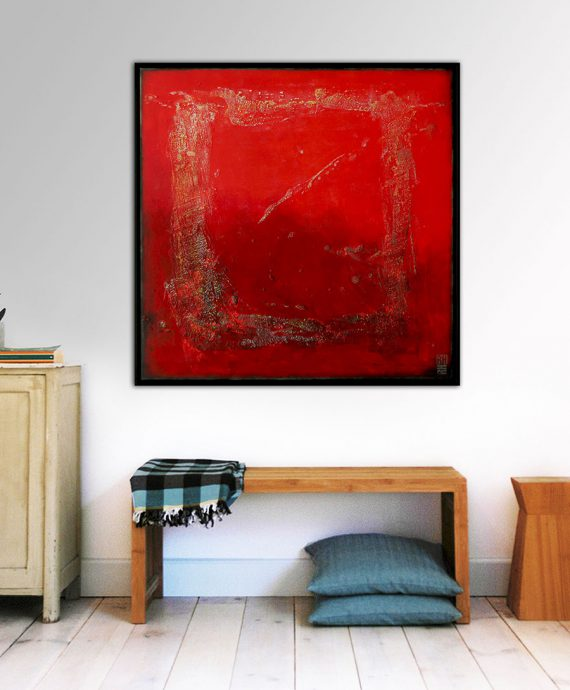 in_room_red_structured_abstract_painting_rhunter