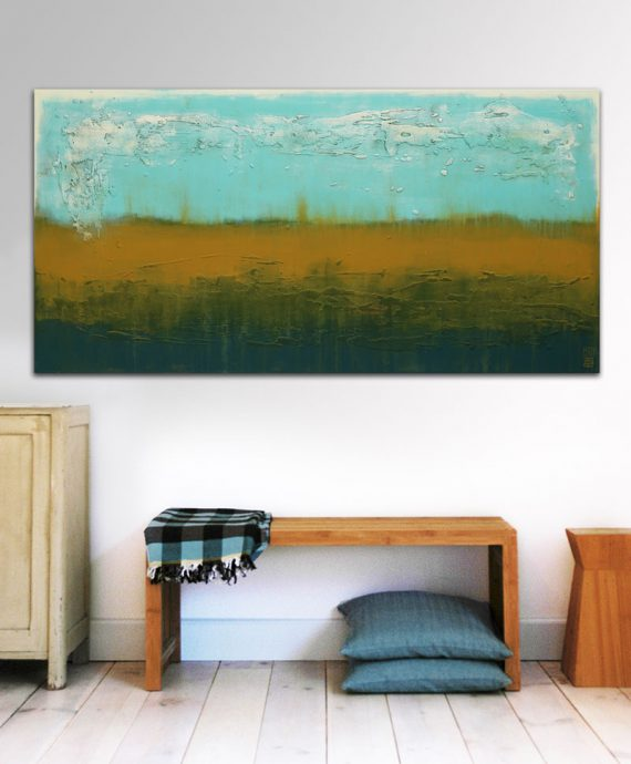 landscape painting turquoise camel abstract ronald hunter