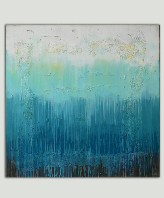 Abstract XL painting (120×120 cm). Oceanic Square XL by Ronald Hunter