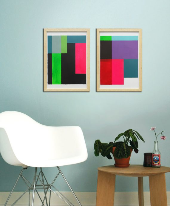 pink diptych painting