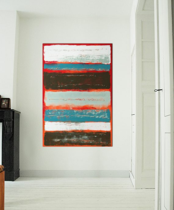 Red Stacked, by Ronald Hunter. A beautiful vibrant color composition, ready to hang.