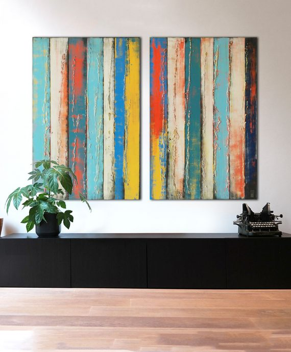 XL diptych, colorful paintings made by Ronald Hunter