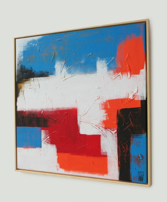 Modern painting including frame, by Ronald Hunter. Abstract Orange Remix (85×85 cm)