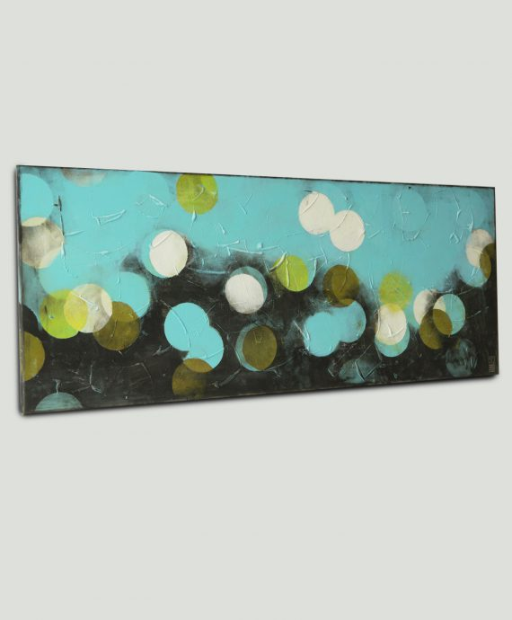 Abstract colorful painting by Ronald Hunter. Blue Circle Line, horizontal painting.