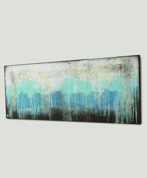 White Landscape, horizontal abstract painting by Ronald Hunter