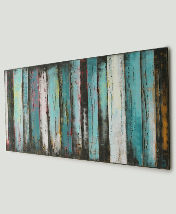 XL Abstract Modern artwork, Darker Turquoise Panels by Ronald Hunter