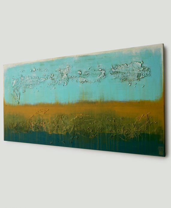 Camel and Turquoise Landscape painting, by Ronald Hunter