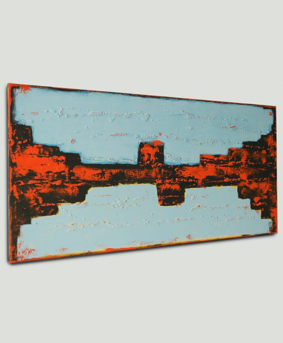 Modern painting by Ronald Hunter, Orange Breakers Blue
