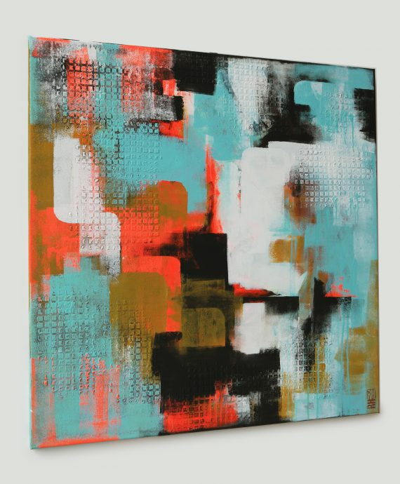Abstract Pop Art Style painting by Ronald Hunter: City Structure Neon Lights
