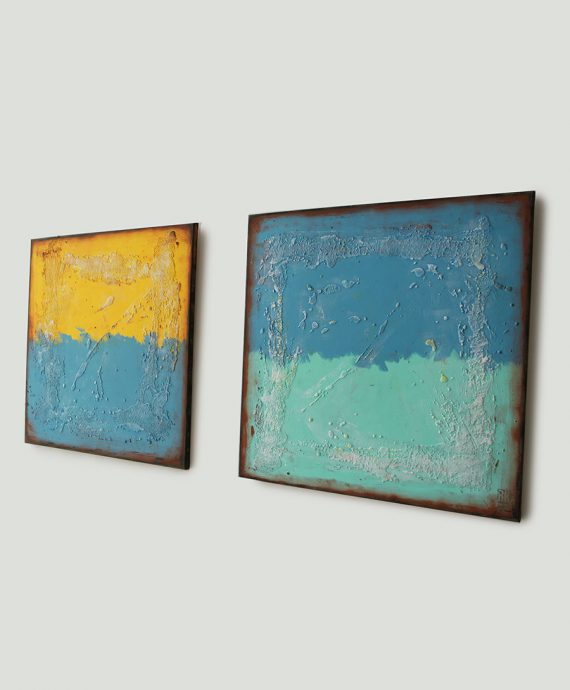 Once Twice, pair of painting, diptych by Ronald Hunter