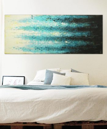 textured original painting boiling bubbles blue ronald hunter
