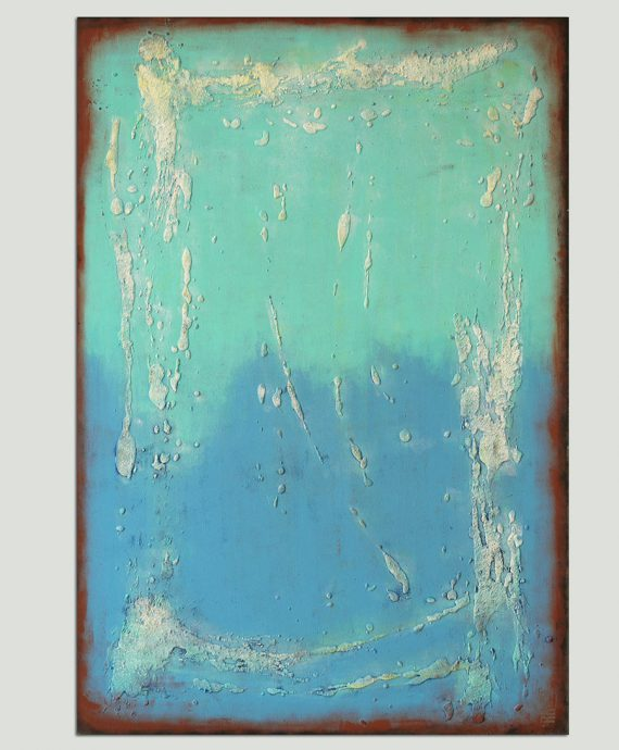 turquoise vertical painting