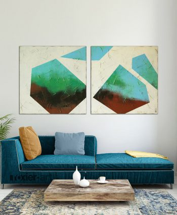 abstract two piece painting