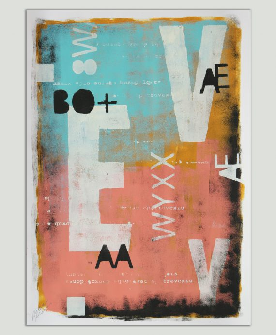 Fine Art on Paper by Ronald Hunter. Typography poster Typopop Pink