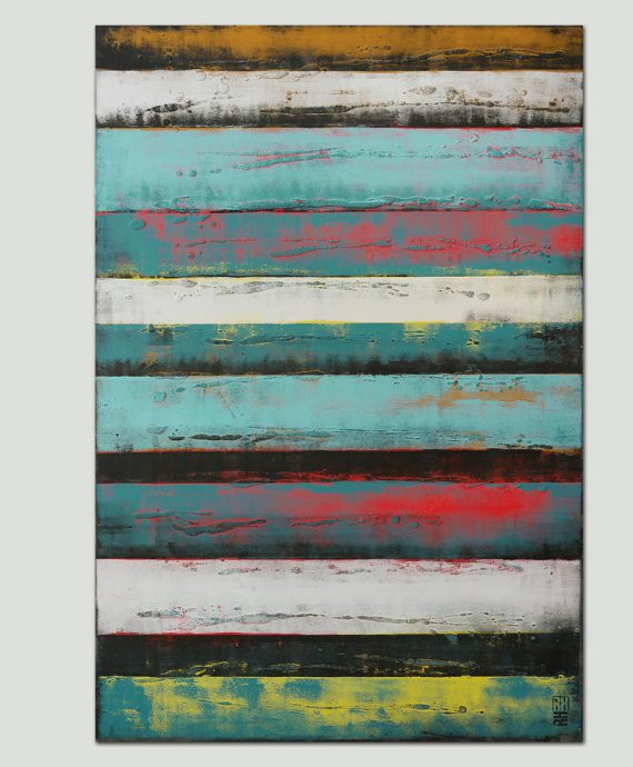 vertical turquoise painting