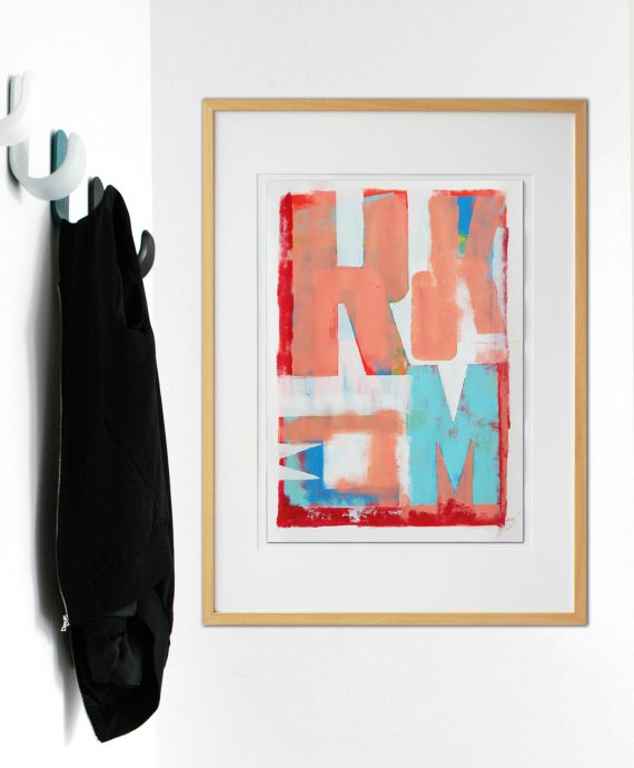 Fine Art on Paper by Ronald Hunter. Typography poster Typopop Pink Poster