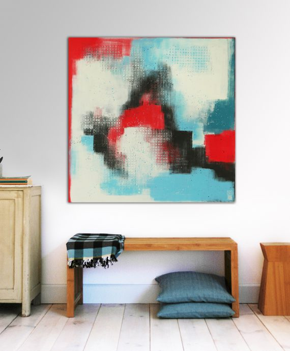 Abstract painting, red and blue, Ronald Hunter