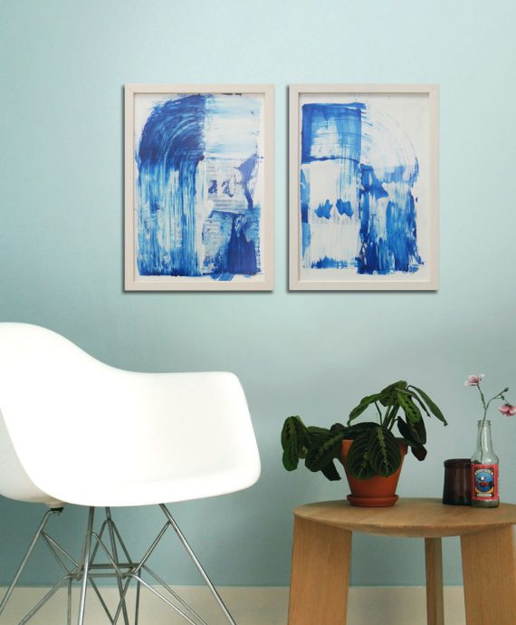 wave diptych painting