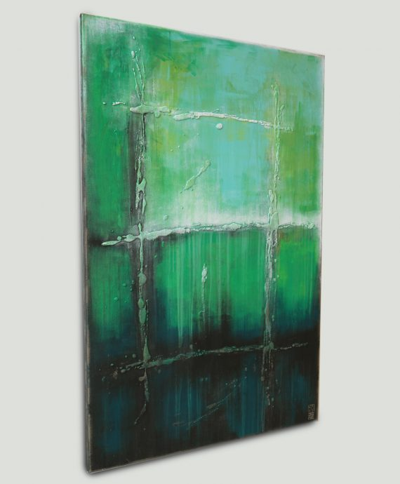 Vertical abstract painting by Ronald Hunter, Sea Green UP.