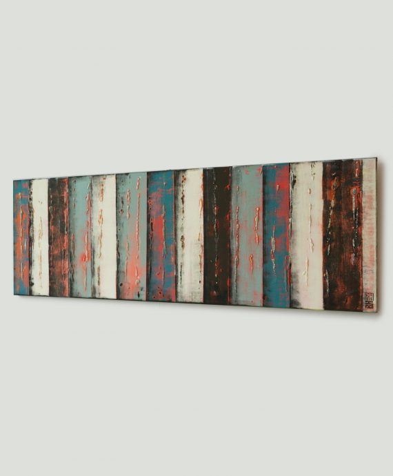 Modern horizontal painting by Ronald Hunter, Dutch abstract artist.